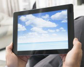 clouds on tablet PC to represent cloud server option